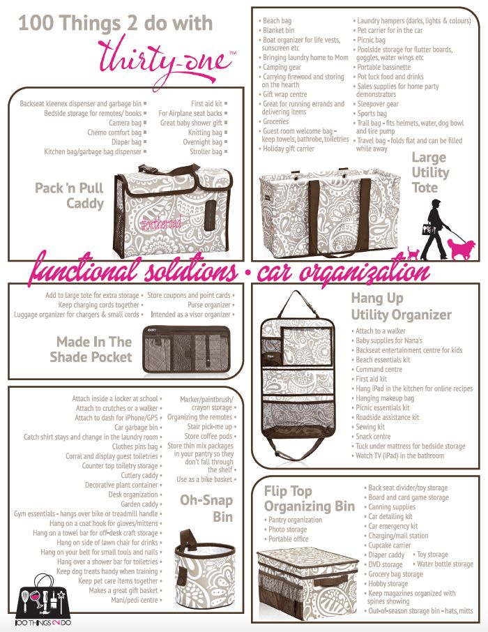 100 Ways to use the Thirty-One Functional Solutions - car organization kit  www.mythirtyone.com/maggiechandler