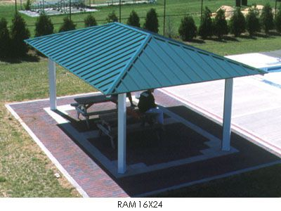 Poligon hip roof picnic shelters shade structures sun for Metal hip roof