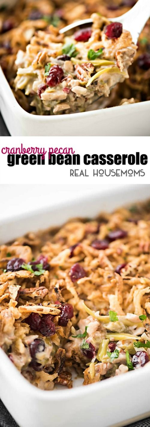 Cranberry Pecan Green Bean Casserole is an easy holiday recipe. It's a fun twist on classic green bean casserole and comes together in no time! #ad @delmontebrand