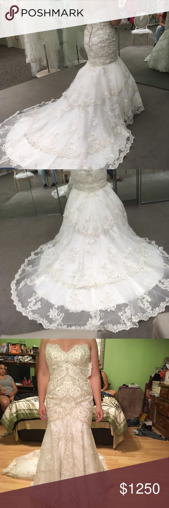 """Brand new mori lee 2801 wedding dress Brand new never worn Mori Lee 2801 wedding dress in ivory/silver. Fit and flare/trumpet style dress. Beautiful beading and embroidery detail.  No alterations done, dress is a 55"""" hem length. Mori Lee Dresses Wedding"""