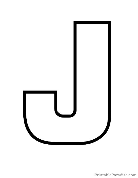 Print Free Large Outline Of The Letter J To Use For Kids Coloring Page Bubble Cutout On Full Sheet Paper