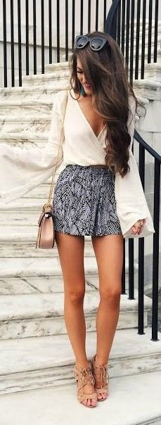Printed shorts + bell sleeves.