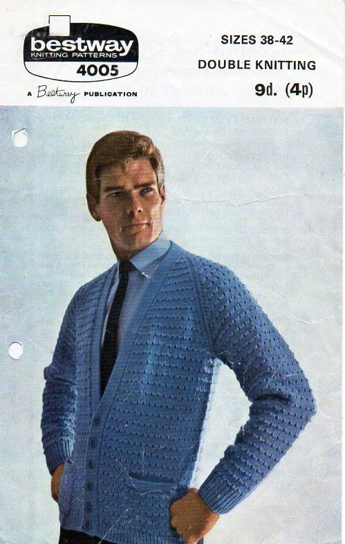 00ebcd175 vintage mens cardigan knitting pattern pdf mens v neck jacket 38-42 ...