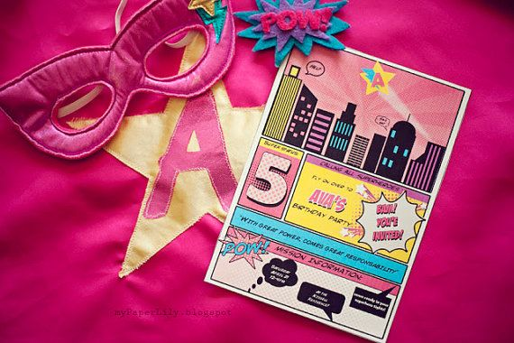 $10 for printable file for girl superhero birthday party invitations  (Caroline didn't like my idea for a girly flower party!)