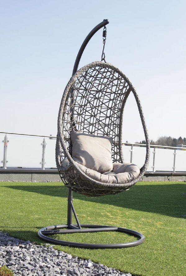 AuBergewohnlich Hängesessel / Affenschaukel Mit Polster LUNA Kunststoffgeflecht Taupegrau  #Garten #Terrasse #Balkon