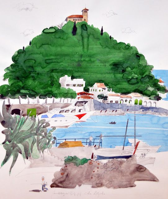 Paul Hogarth / 1988 / Cala Ratgaola, Majorca / watercolour / 53 x 42 cm
