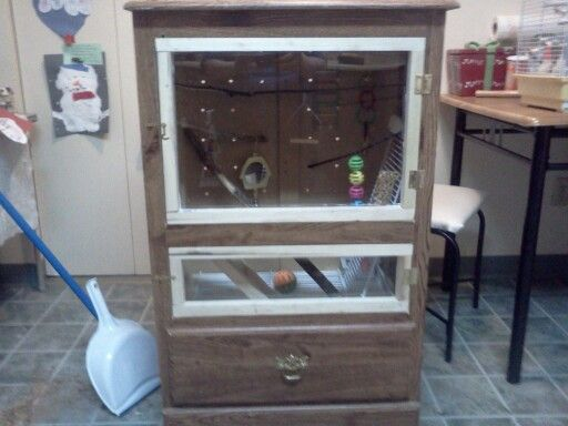 I Made This No Mess Bird Cage Out Of An Old Dresser