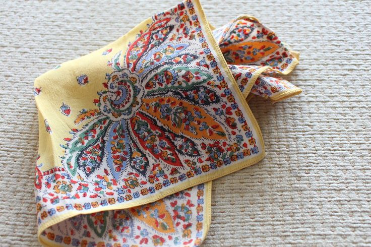vintage men pocket square yellow floral hanki handkerchief  top pocket print