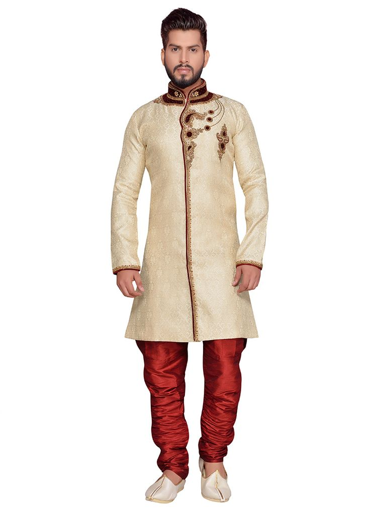 Buy Off White Art Silk Achkan Sherwani online from the wide collection of achkan-sherwani. This Off White colored achkan-sherwani in Art Silk fabric goes well with any occasion. Shop online Designer achkan-sherwani from cbazaar at the lowest price.