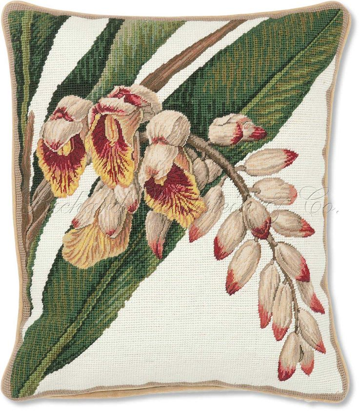 Pink Porcelain Lily Needlepoint Pillow - Floral Needlepoint Pillows at NeedlepointPillows.com