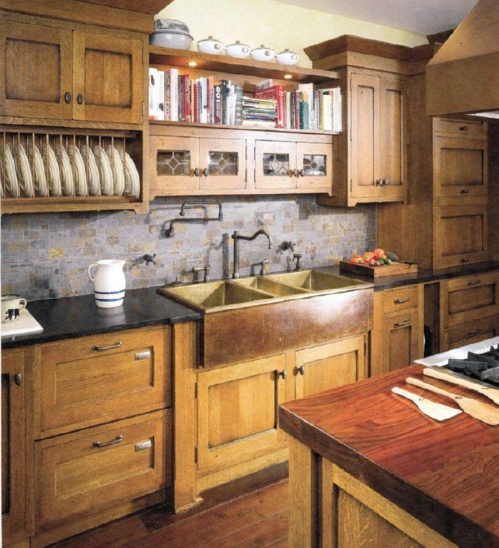craftsman style kitchen cabinets | Seating in a Mission kitchen = wood. www.crown-point.com