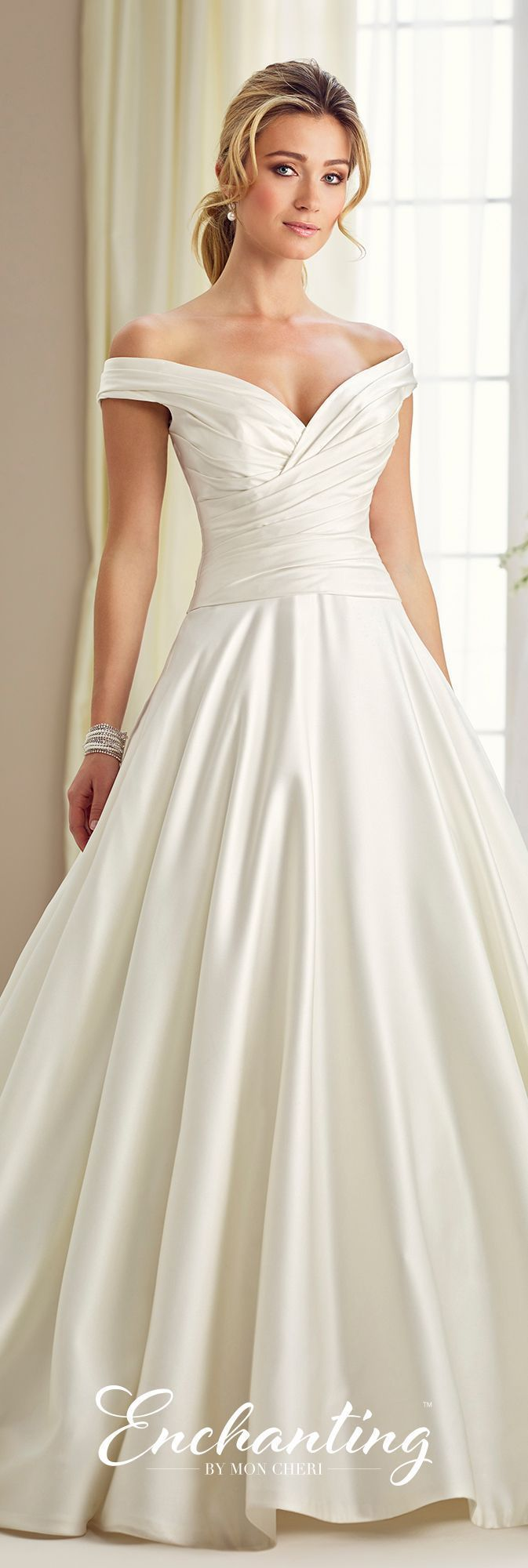 Off-The-Shoulder V-Neck Satin Ballgown with a Draped Bodice- 217119