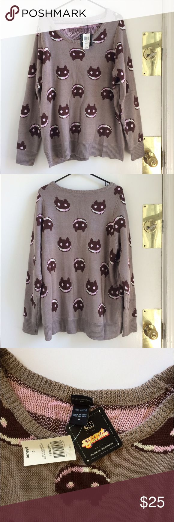 "Steven Universe Cookie Cat Sweater(Hot Topic 0/XL) New with tags Steven Universe Cookie Cat sweater, officially licensed through Hot Topic. Plus size 0 which about the same as a generous XL. Knit is thick and soft. (Measurements: chest 24"", length 28"") Hot Topic Sweaters Crew & Scoop Necks"