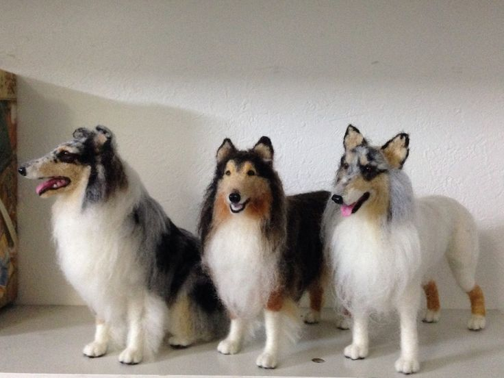 """Needle felted my rough collie """"Dino"""" made in progress by my friend on 12 Nov. '13"""