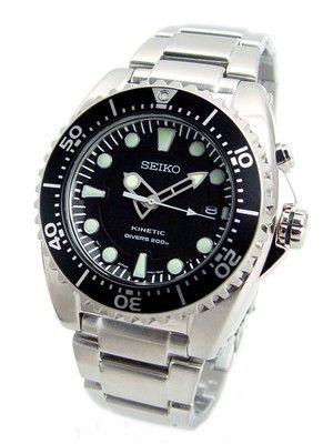 Montre de plongée Seiko Diver Kinetic, bracelet acier Seiko et cadran noir, water resistant 20 ATM (200 mètres).