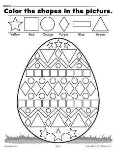 Color the Shapes in the Easter Egg Worksheet #artsandcraftsgoogle,