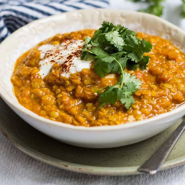 White Girl Dahl (Indian-Spiced Red Lentil, Tomato and Coconut Stew) | (Cooking for) Kiwi & Bean
