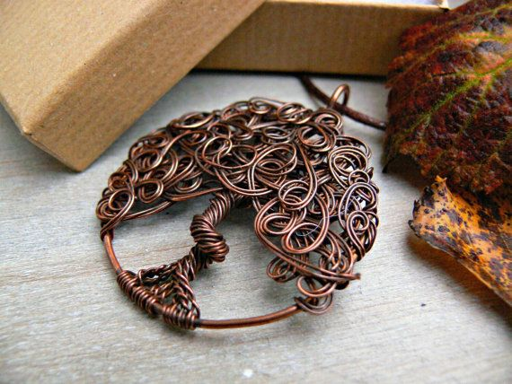 Tree of Life Pendant, Yggdrasil, Copper Tree of Life, Copper Wire Wrapped Pendant, 7th Anniversary Gift, Unique Gift Idea