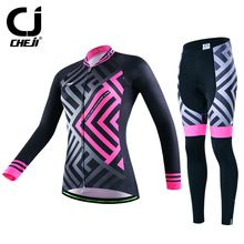 US $91.09 2017 Cheji Long Sleeve Cycling Clothing Women Bike Jersey Set Ropa invierno Ciclismo Quick Dry Cycling Jersey Bicycle Sportswear. Aliexpress product