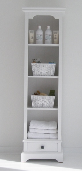 Tall Slim Bookcase for storing toiletries, baskets, hamper