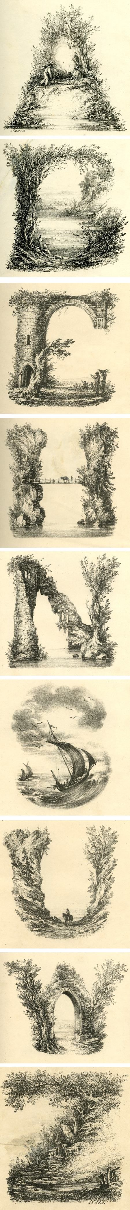 Landscape alphabet, drawn by artist L.E.M. Jones then printed. Early XIXth century.