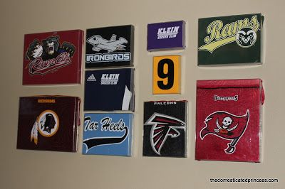 How to display sports t-shirts as art. (This one's for his man cave.)