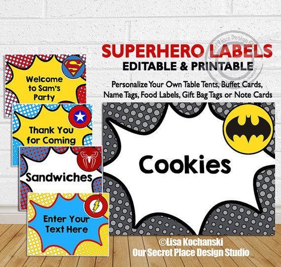 INSTANT DOWNLOAD Superhero Food Labels Superhero by OurSecretPlace