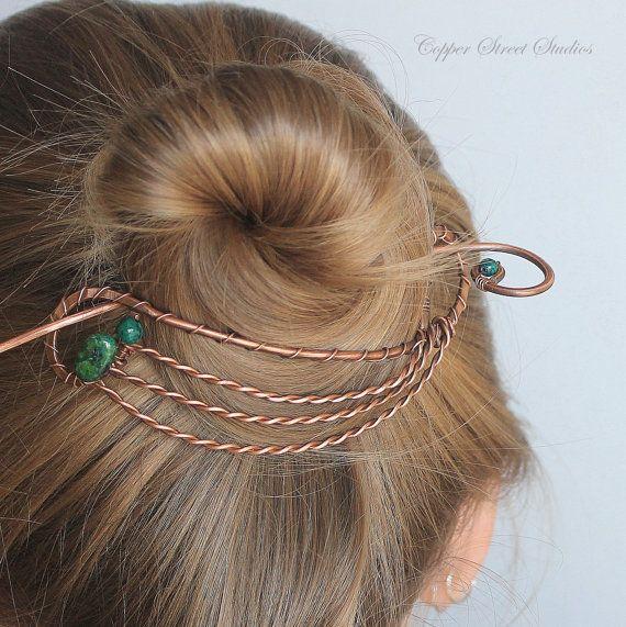 Hair Clip Bun Holder Copper Hair Brooch by CopperStreetStudios