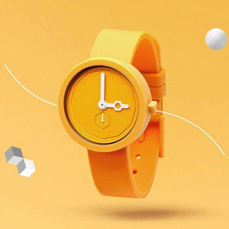 AARK-001YE-イエロー 遊び心溢れるミニマルデザインの真面目な腕時計 by AÃRK Collective