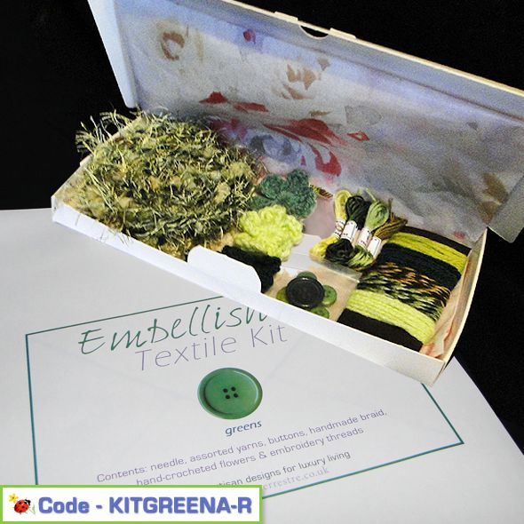 Creative Embellish It Textile Kit Greens Pack A, Paradis Terrestre - Luxury British Made Accessories & Homeware