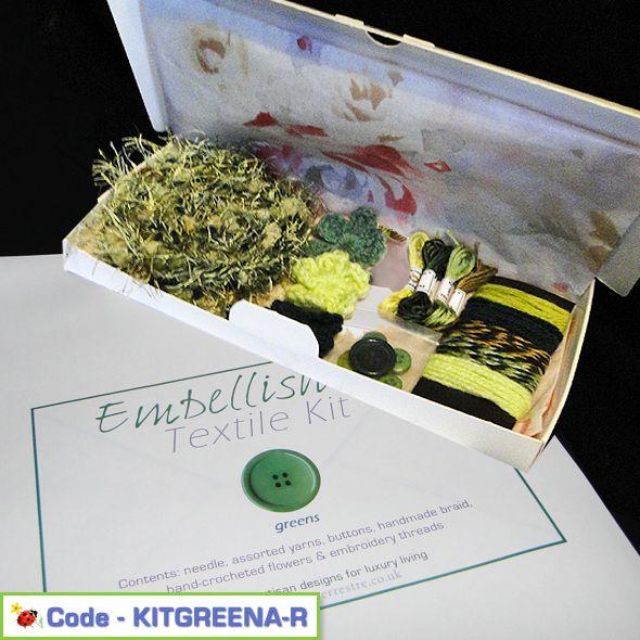 Creative Embellish It Textile Kit Greens Pack A, Paradis Terrestre - Luxury British Made Accessories & Homeware