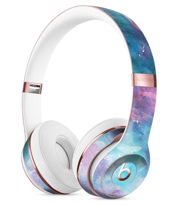Teal to Pink 434 Absorbed Watercolor Texture Full-Body Skin Kit for the Beats by Dre Solo 3 Wireless Headphones