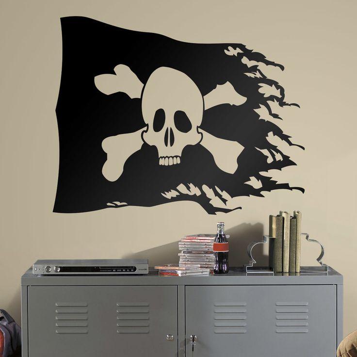 Vinilos Infantiles: Bandera Pirata desgastada #vinilo #pared #piratas #bandera #bucanero #grumete #habitacion #decoracion #infantil #TeleAdhesivo