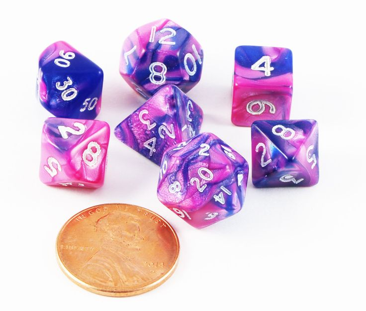 Mini Toxic Dice (Pink Blue) RPG Role Playing Game Dice