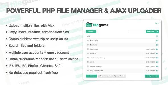FileGator - cool PHP file manager & ajax uploader