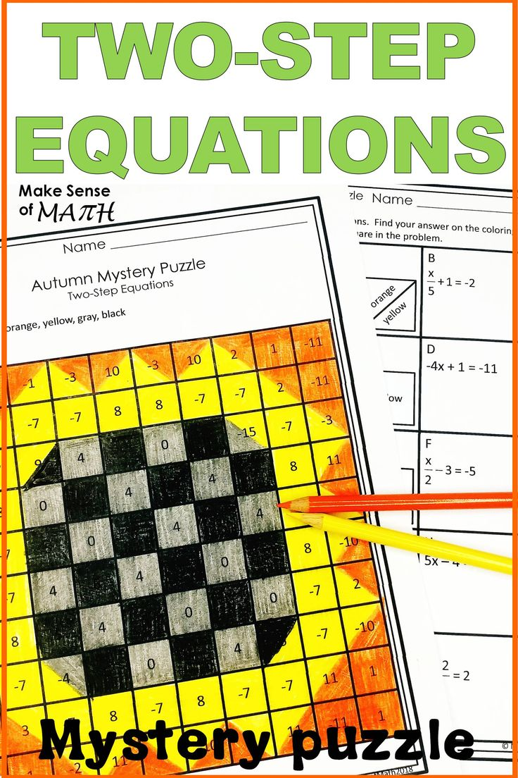 Two Step Equations Activity Mystery Puzzle Two step