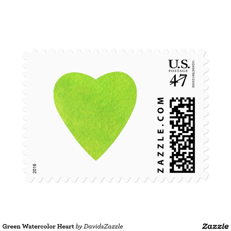 Green Watercolor Heart Stamp  There are more postage rates available in my Zazzle store, just type in the name of design in the search products box located on my store home page!  #stamp #postage #mail #mailing #friend #family #send #letter #package #envelope #office #supplies #invitation #greeting #card #keep #in #touch #party #wedding #watercolor #heart #stamp #design