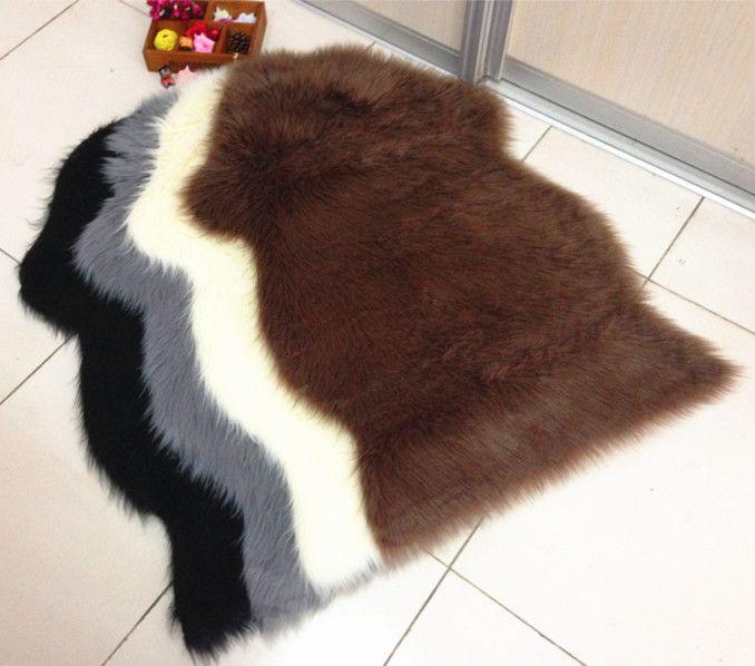 2016 Luxury Shaggy Rug Animal Faux Fur Carpet Sheepskin Rugs Floor Mat Super Soft Rug spread Chair Cover Seat Mat Pad fluffy