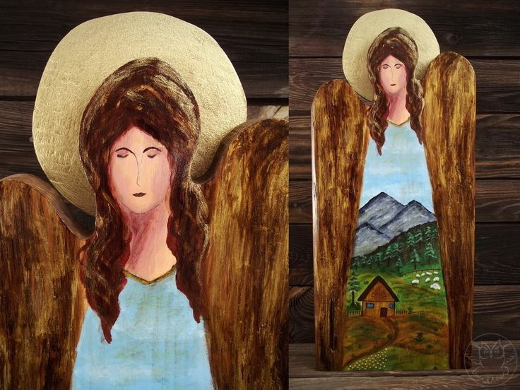 Wooden angel with handpainted mountain scenery