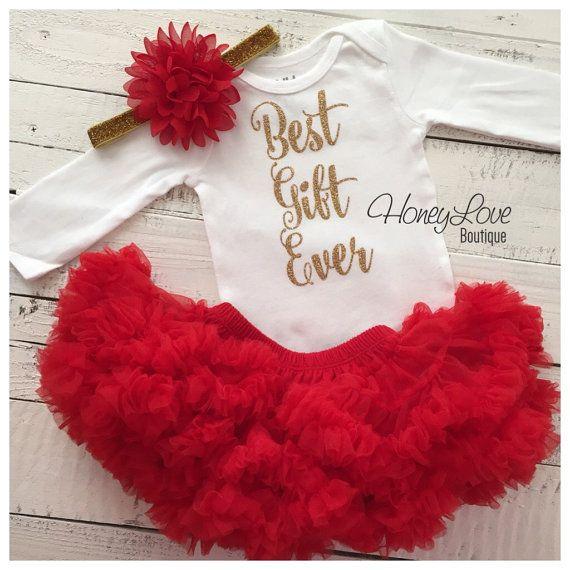 Best Gift Ever Christmas Set SILVER or GOLD glitter shirt red flower headband bow red pettiskirt tutu skirt infant baby girl Santa Outfit by HoneyLoveBoutique