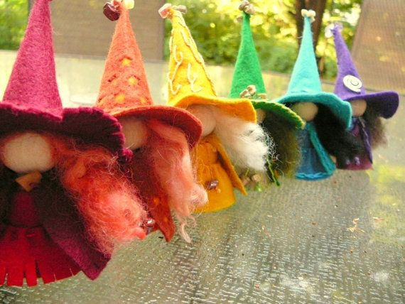 The cutest little witches-A Rainbow of Witches Wool Felt Witch Peg Doll by BRIDGITSBELL, $48.00