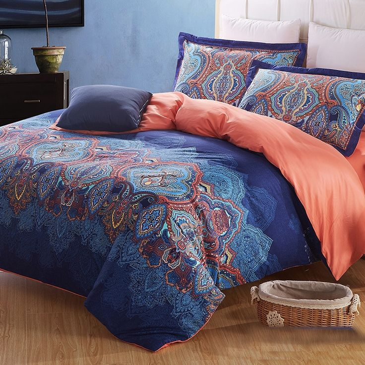 Cobalt Blue Coral And Brown Indian Pattern Moroccan Themed