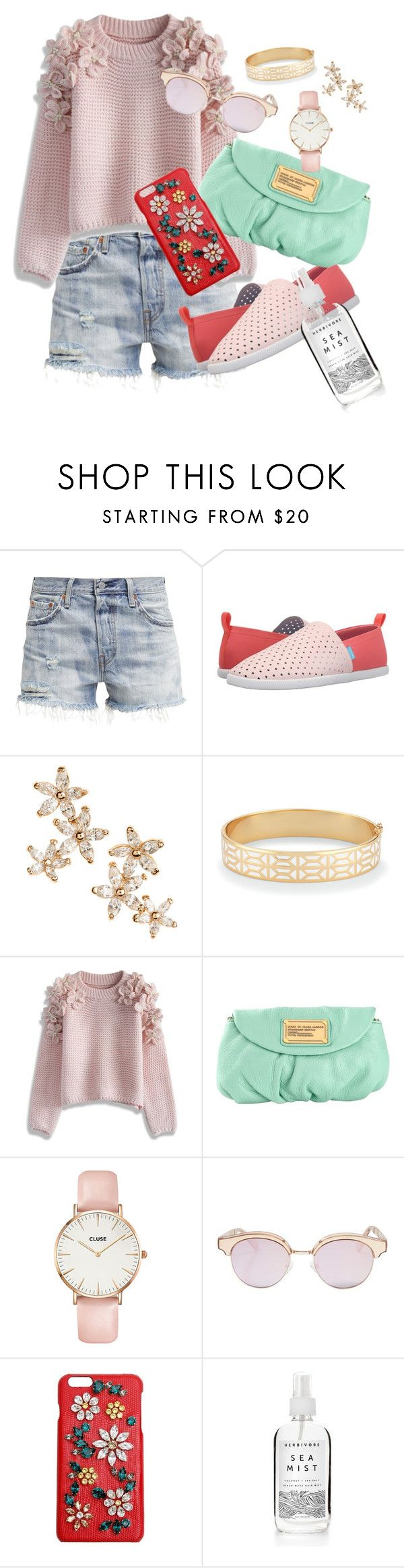 """Spring Look"" by fashion-mama-aquarius on Polyvore featuring Levi's, Native Shoes, Bonheur, Stella & Dot, Chicwish, Marc by Marc Jacobs, CLUSE, Le Specs, Dolce&Gabbana and styleset"