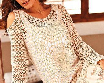 Trendy crochet tunic PATTERN pdf TUTORIAL  by CONCEPTcreativeSTORE