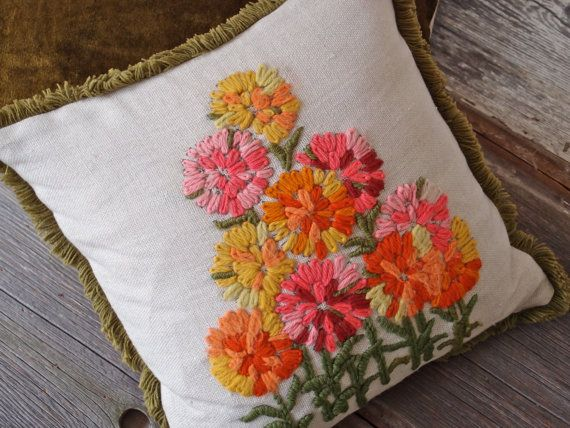 Vintage Crewel Embroidered 70's Flowers Pillow  by lakeandsagepdx, $23.00