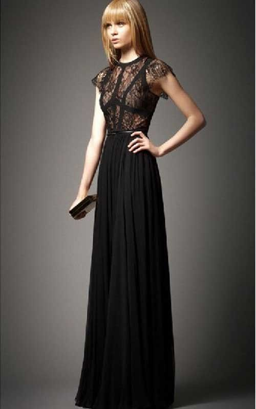 f813eb64bb6 Bcbg Elie Saab Terra Lace Top Black Chiffon Prom DressOutlet