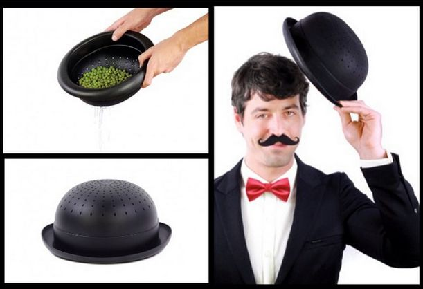 Drain your food as a real gentleman with this colander! ..or use it as a Bowler Hat.