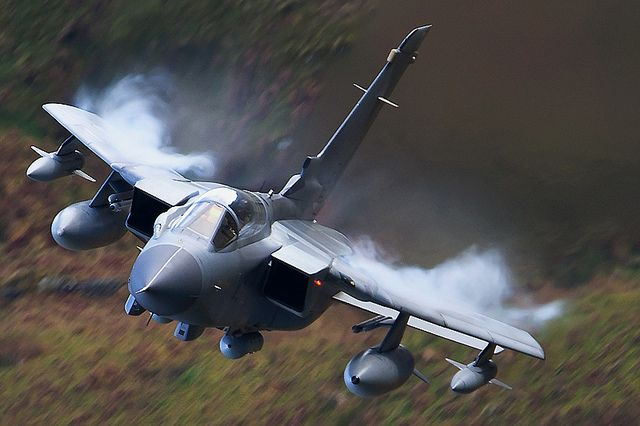Tornado GR4 Fighter jet.  Many people don't approve of these mighty machines disturbing the tranquility of the mountains of Snowdonia. However, there is a purpose to these training flights and the best that anyone can do is to pray that they will never have to be used in anger defending our freedom and way of life.