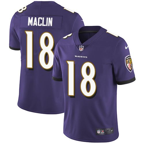 Youth Nike Baltimore Ravens #18 Jeremy Maclin Purple Team Color Vapor Untouchable Limited Player NFL Jersey https://www.fanprint.com/licenses/baltimore-ravens?ref=5750