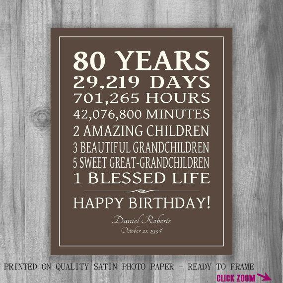 80 cumpleaños regalo muestra impresión por PrintsbyChristine